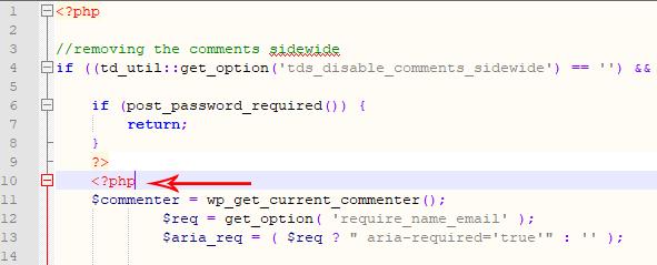 Thêm thẻ mở php để khung bình luận hoạt động