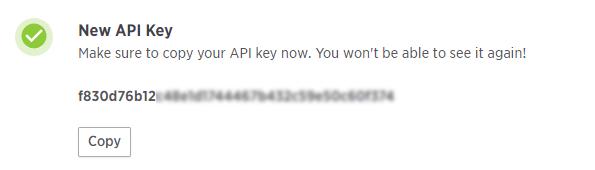 API key SMTP SparkPost